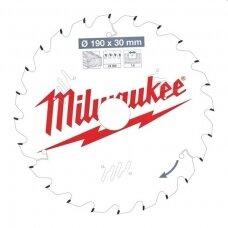 Diskas pjovimo 190x30x1,6mm 24dant. Milwaukee (akum. įrankiui) įvairiai medienai