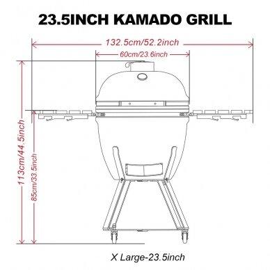 """KAMADO keramikinė klasikinio dizaino kepsninė 23.5"""" (XL) - RAUDONA 8"""