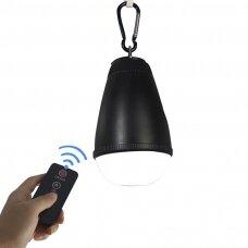 Vandeniui atsparus (IP65) LED stovyklavimo žibintas su nuotolinio valdymo pulteliu